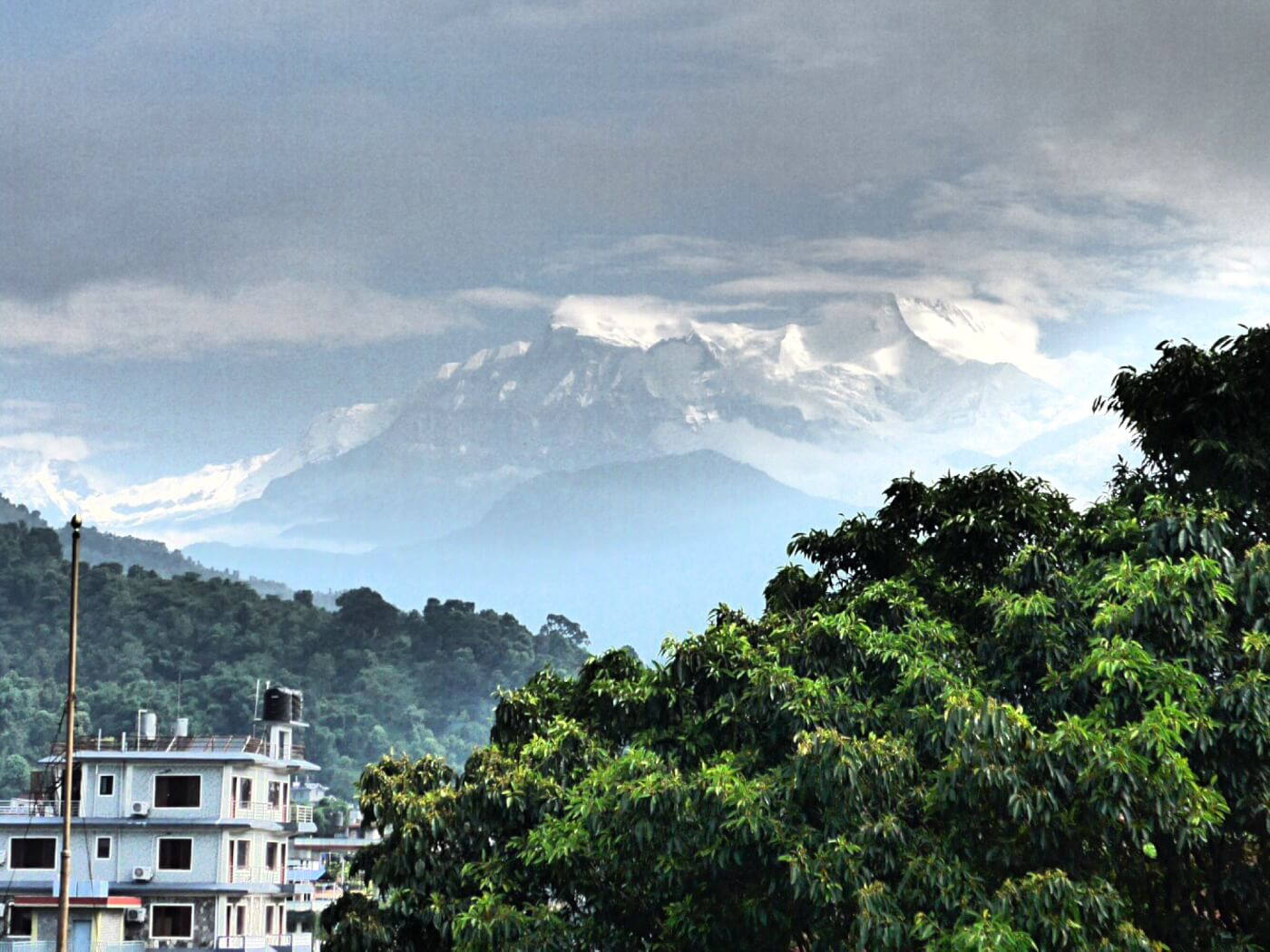 View of Annapurnas from hotel